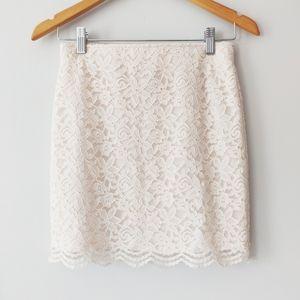 H&M white lace mini skirt